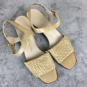 Salvatore Ferragamo Gold Leather Sandals Size 7.5